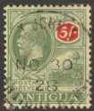 Antigua 1922 KGV 5sh Green and Red on Pale Yellow Used SG60