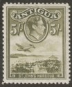 Antigua 1938 KGVI 5sh Olive-Green Mint SG107