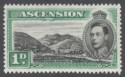 Ascension 1938 KGVI Green Mountain 1d Black and Green Mint SG39