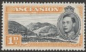 Ascension 1940 KGVI Green Mountain 1d Black and Yellow-Orange p13½ Mint SG39a