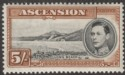 Ascension 1938 KGVI Long Beach 5sh Black and Yellow-Brown p13½ Mint SG46