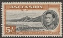 Ascension 1944 KGVI Long Beach 5sh Black and Yellow-Brown p13 Mint SG46a