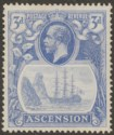 Ascension 1924 KGV Badge 3d Blue with Broken Mainmast Variety Mint SG14a