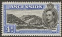 Ascension 1940 KGVI Green Mountain 4d Black and Ultramarine Perf 13½ Mint SG42c