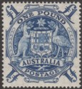 Australia 1949 KGVI Commonweath Coat of Arms £1 Blue Mint SG224c cat £42 MNH