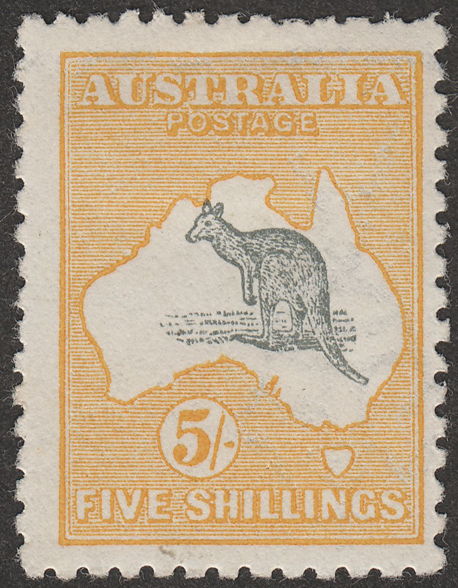 Australia 1915 KGV Roo 5sh Grey and Yellow wmk Pointed Crown Inverted Mint SG30w