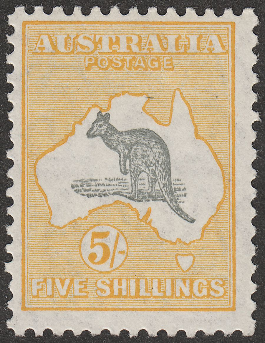 Australia 1929 KGV Roo 5sh Grey and Yellow wmk Small Multi Mint SG111