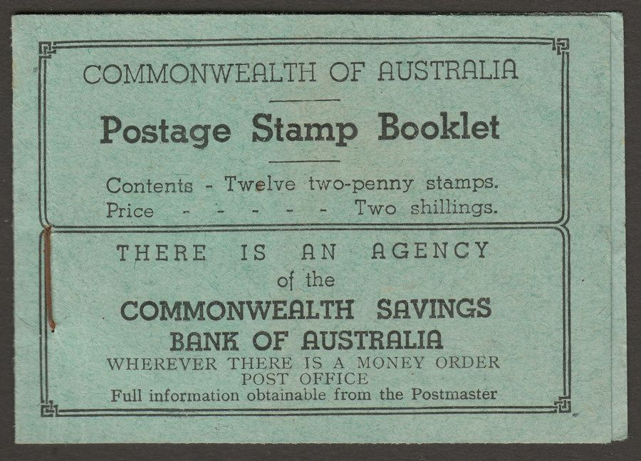 Australia 1935 KGV 2sh Stamp Booklet with 10 of 12 stamps remaining SG SB26c