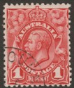 Australia 1913 KGV Engraved 1d Red w DE 5 1913 Presentation / UPU CTO Used SG17