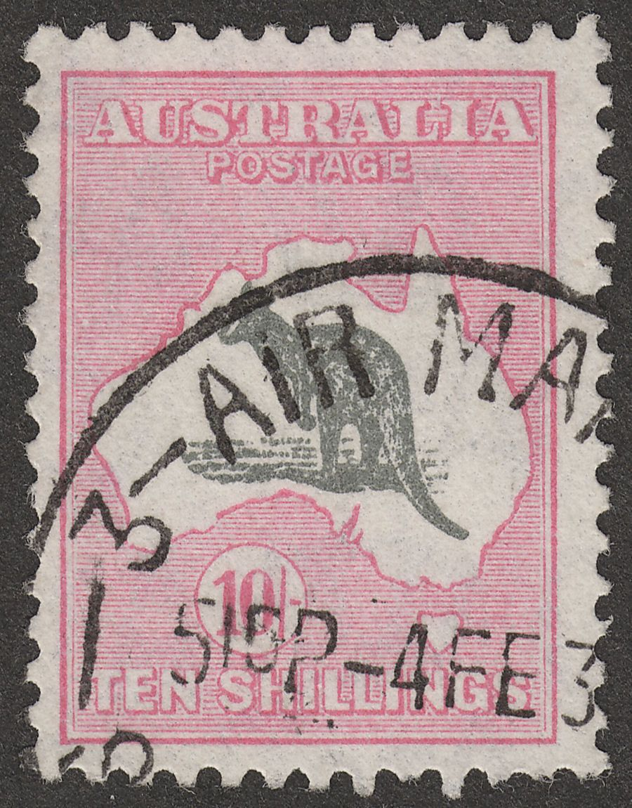Australia 1932 KGV Roo 10sh Grey and Pink wmk CofA Used SG136