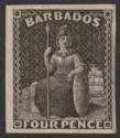 Barbados 1873 QV Britannia Perkins Bacon 4d Plate Proof in Black