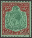 Bermuda 1930 KGV 10sh Green and Red on Deep Emerald Used SG92g