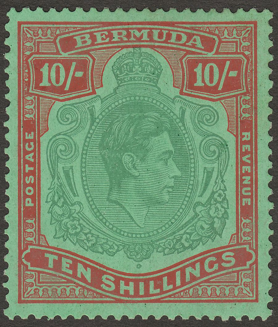 Bermuda 1939 KGVI 10sh Bluish Green and Deep Red on Green p14 Mint SG119a