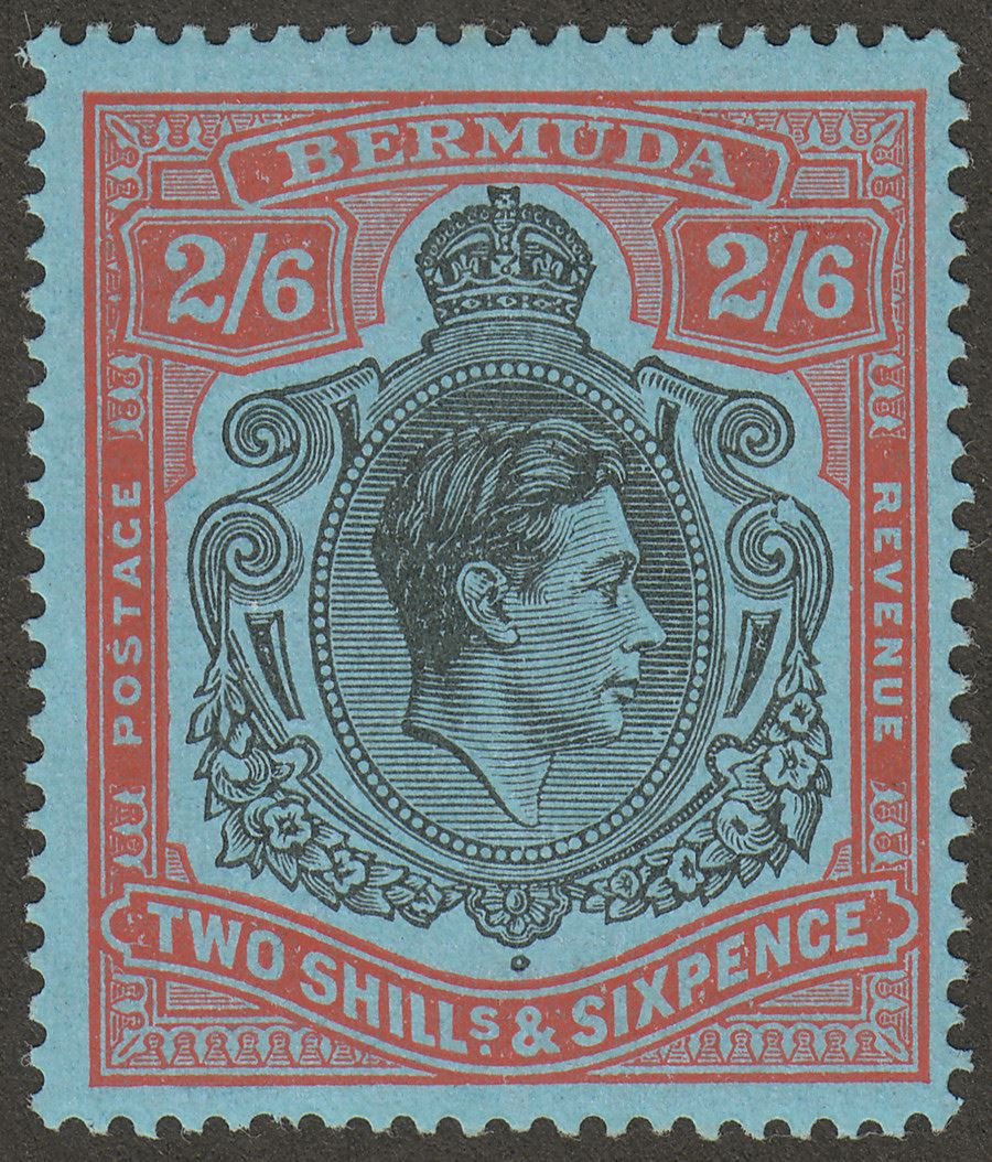 Bermuda 1943 KGVI 2sh6d Black and Red p14 Broken Lower Right Scroll Mint SG117be