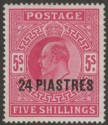 British Levant 1905 KEVII 24pi on 5sh Bright Carmine Mint SG12