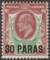 British Levant 1911 KEVII 30pa on 1½d Reddish Purple + Bright Green Mint SG29
