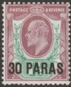 British Levant 1911 KEVII 30pa on 1½d Dull Reddish Purple + Brt Green Mint SG29