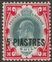 British Levant 1909 KEVII 5pi on 1sh Dull Green and Carmine Mint SG21