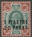 British Levant 1909 KEVII 1pi 30pa on 4d Green and Chocolate-Brown Mint SG18