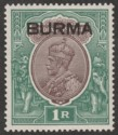 Burma 1937 KGV Opt on India 1r Chocolate and Green Mint SG13