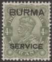 Burma 1937 KGV Service Opt on India 4a Sage-Green Mint SG O7