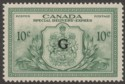 Canada 1950 KGVI Special Delivery Official G Overprint 10c Green Mint SG OS21
