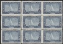 Canada 1935 KGV Silver Jubilee Royal Yacht 13c Blue Block of 9 Mint SG340