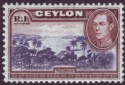 Ceylon 1938 KGVI 1r Blue-Violet and Chocolate wmk Sideways Mint SG395