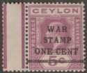 Ceylon 1918 KGV War Tax 1c on 5c Purple wmk Inverted and Reversed Mint SG335y