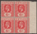 Ceylon 1919 KGV 6c Pale Scarlet wmk Inverted Block of Four Mint SG305w