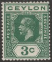 Ceylon 1919 KGV 3c Blue-Green wmk Inverted Mint SG302w