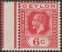 Ceylon 1912 KGV 6c Carmine wmk Sideways Crown to Right Mint SG306a