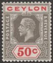 Ceylon 1932 KGV 50c Black and Scarlet Die I Mint SG353a