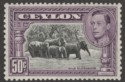 Ceylon 1938 KGVI 50c Black and Mauve perf 13x11½ Mint SG394