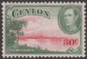 Ceylon 1938 KGVI 30c Carmine and Green wmk Sideways Mint SG393
