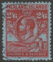Falkland Islands 1929 KGV Whale and Penguins 2sh6d Carmine on Blue Used SG123