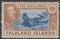 Falkland Islands 1949 KGVI 5sh Dull Blue and Yellow-Brown Mint SG161c