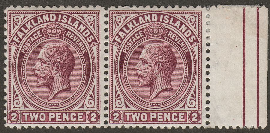 Falkland Islands 1914 KGV 2d Deep Reddish Purple Line Perf Pair Mint SG62a