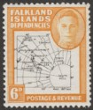 Falkland Islands Dependencies 1948 KGVI Thin Map 6d Dot in T Mint SG G14a