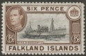 Falkland Islands 1938 KGVI 6d Black and Brown Mint SG155a
