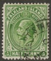 Falkland Islands 1914 KGV ½d Deep Yellow-Green Line Perf Used SG60a