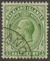 Falkland Islands 1912 KGV ½d Yellow-Green Used SG60