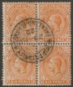 Falkland Islands 1922 KGV 6d Brown-Orange Block of Four Used SG64b cat £168