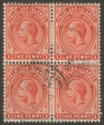 Falkland Islands 1912 KGV 1d Orange-Red Block of Four Used SG61