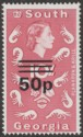 South Georgia 1972 QEII 50p Surcharge on 10sh Magenta Type II Mint SG31a