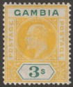 Gambia 1909 KEVII 3sh Yellow and Green with Variety Dented Frame Mint SG85a