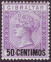 Gibraltar 1889 QV 50c Surcharge on 6d Bright Violet w Var Short Foot Mint SG20a