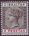 Gibraltar 1896 QV 2p Black and Carmine Mint SG32