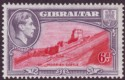 Gibraltar 1938 KGVI 6d Carmine and Grey-Violet Perf 13½ Mint SG126