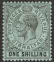 Gibraltar 1912 KGV 1sh Black on Green Mint SG81